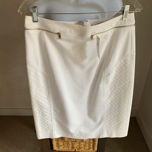 Cache White Pencil Skirt 10 Gold Zippers - Unlined